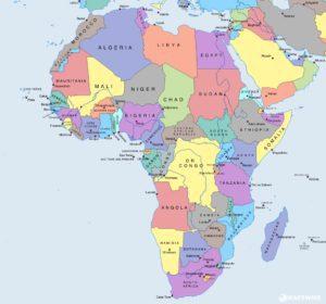 mapa světa - Afrika