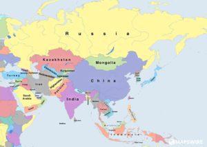 mapa světa - Asie