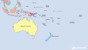 mapa světa - Austrálie
