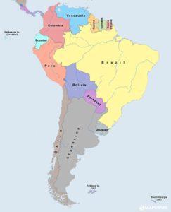 mapa světa - Jižní Amerika